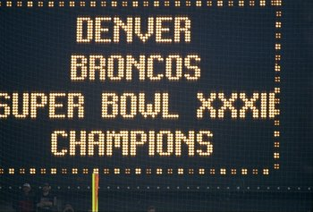 25 Jan 1998:  A Denver Broncos Super Bowl Champions sign during Super Bowl  XXXII at Qualcomm Stadium in San Diego, California.  The Denver Broncos defeated the Green Bay Packers 31-24. Mandatory Credit: Jamie Squire  /Allsport