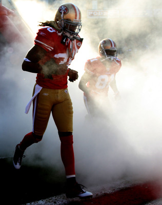 SAN FRANCISCO - DECEMBER 27: Dashon Goldson #38 and Brandon Jones #81 of the San Francisco 49ers are introduced against the Detroit Lions during an NFL game at Candlestick Park on December 27, 2009 in San Francisco, California.  (Photo by Jed Jacobsohn/Ge