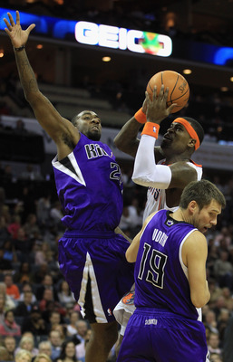 CHARLOTTE, NC - FEBRUARY 25:  Teammates Donte Greene #20 and Beno Udrih #19 of the Sacramento Kings try to stop Stephen Jackson #1 of the Charlotte Bobcats during their game at Time Warner Cable Arena on February 25, 2011 in Charlotte, North Carolina. NOT