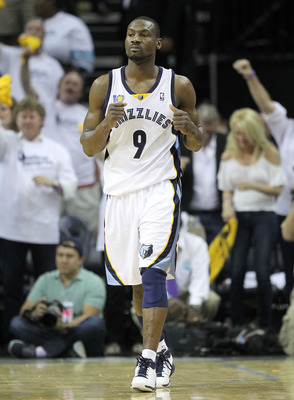 MEMPHIS, TN - MAY 07:  Tony Allen #9 of the  Memphis Grizzlies celebrates during the game against the Oklahoma City Thunder in Game Three of the Western Conference Semifinals in the 2011 NBA Playoffs at FedExForum on May 7, 2011 in Memphis, Tennessee.The