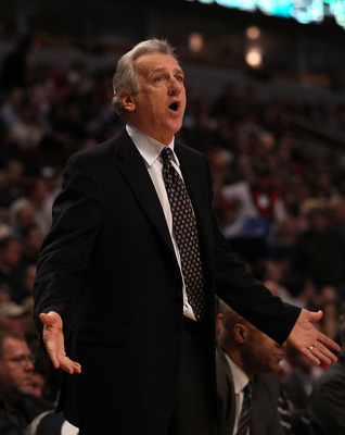 CHICAGO, IL - MARCH 21: Head coach Paul Westphal of the Sacramento Kings complains to a referee during a game against the Chicago Bulls at the United Center on March 21, 2011 in Chicago, Illinois. The Bulls defeated the Kings 132-92. NOTE TO USER: User ex
