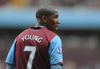 BIRMINGHAM, ENGLAND - MAY 07:  Ashley Young of Villa looks on during the Barclays Premier League match between Aston Villa and Wigan Athletic on May 7, 2011 in Birmingham, England.  (Photo by Michael Regan/Getty Images)