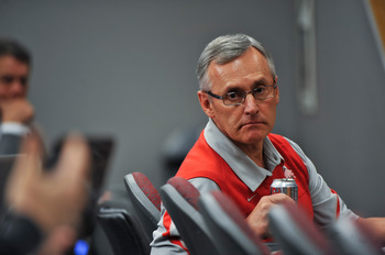 PASADENA, CA - JANUARY 01:  Head coach Jim Tressel of the Ohio State Buckeyes is seen during the 96th Rose Bowl game against the Oregon Ducks on January 1, 2010 in Pasadena, California.  (Photo by Jeff Gross/Getty Images)