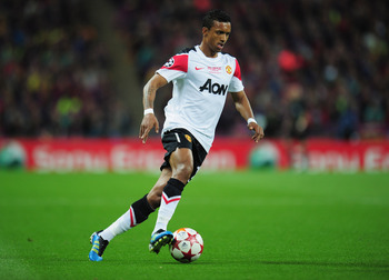 LONDON, ENGLAND - MAY 28:  Luis Nani of Manchester United  in action during the UEFA Champions League final between FC Barcelona and Manchester United FC at Wembley Stadium on May 28, 2011 in London, England.  (Photo by Shaun Botterill/Getty Images)
