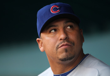 MIAMI GARDENS, FL - MAY 18:  Carlos Zambrano #38 of the Chicago Cubs looks on during a game against the Florida Marlins at Sun Life Stadium on May 18, 2011 in Miami Gardens, Florida.  (Photo by Mike Ehrmann/Getty Images)