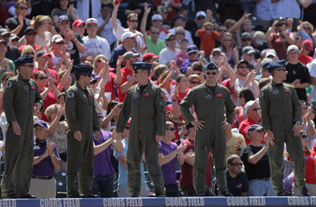 DENVER, CO - MAY 29:  US Air Force Pilots from Vance Air Force Base in Oklahoma are recognized on the eve of Memorial Day as the St. Louis Cardinals face the Colorado Rockies at Coors Field on May 29, 2011 in Denver, Colorado.  (Photo by Doug Pensinger/Ge