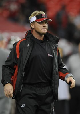 ATLANTA - DECEMBER 14: Coach Jon Gruden of the Tampa Bay Buccaneers directs play against the Atlanta Falcons at the Georgia Dome on December 14, 2008 in Atlanta, Georgia.  (Photo by Al Messerschmidt/Getty Images)