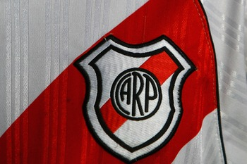 BUENOS AIRES, ARGENTINA - FEBRUARY 10:  The River Plate badge is seen on a supporters shirt before the Primera Division closing season match between River Plate and Gimnasia de Jujuy at the Estadio Monumental on February 10, 2008 in Buenos Aires, Argentin