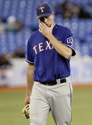 TORONTO - MAY 15: Scott Feldman #39 of the  of the Texas Rangers walks off after getting pulled during a MLB game against the Toronto Blue Jays at the Rogers Centre May 15, 2010 in Toronto, Ontario, Canada. (Photo by Abelimages/Getty Images)