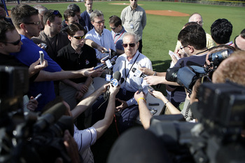 PORT ST. LUCIE, FL - FEBRUARY 17:  Owner Fred Wilpon of the New York Mets addresses the media during spring training at Tradition Field on February 17, 2011 in Port St. Lucie, Florida.  (Photo by Marc Serota/Getty Images)