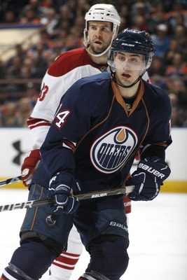 EDMONTON, CANADA - MARCH 17: Jordan Eberle #14 of the Edmonton Oilers skates against the Phoenix Coyotes on March 17, 2011 at Rexall Place in Edmonton, Alberta, Canada. (Photo by Dale MacMillan/Getty Images)