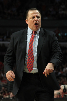 CHICAGO, IL - MAY 26:  Head coach Tom Thibodeau of the Chicago Bulls looks on against the Miami Heat in Game Five of the Eastern Conference Finals during the 2011 NBA Playoffs on May 26, 2011 at the United Center in Chicago, Illinois. NOTE TO USER: User e
