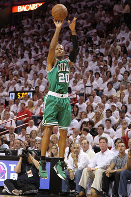 MIAMI, FL - MAY 11: Ray Allen #20 of the Boston Celtics shoots a jump shot during Game Five of the Eastern Conference Semifinals of the 2011 NBA Playoffs against the Miami Heat at American Airlines Arena on May 11, 2011 in Miami, Florida. NOTE TO USER: Us