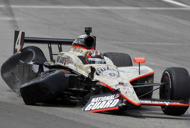 INDIANAPOLIS - MAY 29:  J.R. Hildebrand driver of the #4 National Guard Panther Racing finishes second after crashing during the IZOD IndyCar Series Indianapolis 500 Mile Race at Indianapolis Motor Speedway on May 29, 2011 in Indianapolis, Indiana.  (Phot