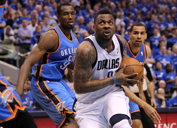 DALLAS, TX - MAY 25:  DeShawn Stevenson #92 of the Dallas Mavericks drives past Serge Ibaka #9 and Thabo Sefolosha #2 of the Oklahoma City Thunder in the first half in Game Five of the Western Conference Finals during the 2011 NBA Playoffs at American Air