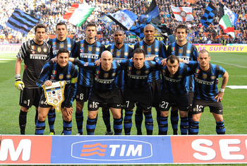 MILAN, ITALY - MARCH 20:  (Back row L-R) Julio Cesar, Lucio, Thiago Motta, Samuel Eto'o, Cristian Chivu, (Front row L-R) Javier Zanetti, Esteban Cambiasso, Giampaolo Pazzini, Goran Pandev and Wesley Sneijder of Inter Milan pose for a team shot ahead of th