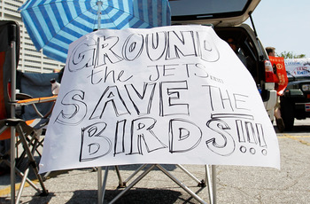 ATLANTA, GA - MAY 21:  A sign displayed outside Philips Arena urges to 'Ground the Jets...Save the Birds' as fans hold a rally to keep the Thrashers in Atlanta at Philips Arena on May 21, 2011 in Atlanta, Georgia.  It has been reported the Thrashers may r