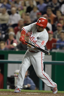 WASHINGTON, DC - APRIL 14: Shane Victorino #8 of the Philadelphia Phillies at the plate against the Washington Nationals at Nationals Park on April 14, 2011 in Washington, DC.  (Photo by Rob Carr/Getty Images)