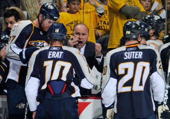 NASHVILLE, TN - MAY 05:  Head coach Barry Trotz of the Nashville Predators talks to Martin Erat #10 and Ryan Suter #20 during a timeout prior to a two man advantage over the Vancouver Canucks in Game Four of the Western Conference Semifinals at Bridgeston