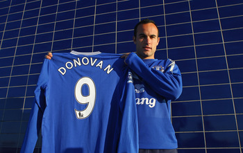 LIVERPOOL, ENGLAND - JANUARY 07:  Landon Donovan joins Everton on a two-and-a-half-month loan deal from Los Angeles Galaxy at Finch Farm Training Complex on January 7, 2010 in Liverpool, England.  (Photo by Alex Livesey/Getty Images)