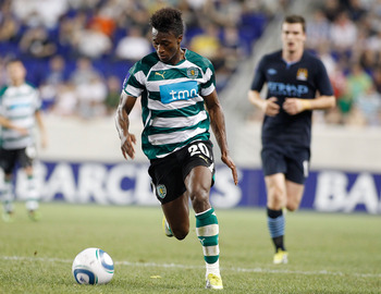 HARRISON, NJ - JULY 23:  Yannick Djalo #20 of Sporting Lisbon plays the ball against Manchester City on July 23, 2010 at Red Bull Arena in Harrison, New Jersey. Sporting Lisbon won 2-0, both goals by Djalo.  (Photo by Mike Stobe/Getty Images for New York