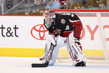 GLENDALE, AZ - MARCH 29:  Goaltender Ilya Bryzgalov #30 of the Phoenix Coyotes during the NHL game against the Dallas Stars at Jobing.com Arena on March 29, 2011 in Glendale, Arizona.  The Coyotes defeated the Stars 2-1 in an overtime shoot out.  (Photo b