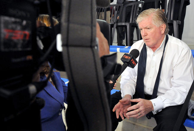 TORONTO, ON - AUGUST 18: Toronto Maple Leafs General Manager Brian Burke speaks to the media during the afternoon session of the 2010 NHL Research, Development and Orientation Camp at the Mastercard Center on August 18, 2010 in Toronto, Canada.  (Photo by