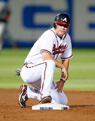 ATLANTA, GA - MAY 27:  Chipper Jones #10 of the Atlanta Braves reacts after being called out at second base in the fourth inning against the Cincinnati Reds at Turner Field on May 27, 2011 in Atlanta, Georgia.  (Photo by Kevin C. Cox/Getty Images)
