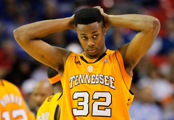 ATLANTA, GA - MARCH 11:  Scotty Hopson #32 of the Tennessee Volunteers reacts during their game against the Florida Gators in the quarterfinals of the SEC Men's Basketball Tournament at Georgia Dome on March 11, 2011 in Atlanta, Georgia.  (Photo by Kevin