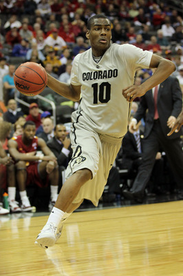 KANSAS CITY, MO - MARCH 09:  Alec Burks #10 of the Colorado Buffaloes drives with the ball against the Iowa State Cyclones during the first round of the 2011 Phillips 66 Big 12 Men's Basketball Tournament at Sprint Center on March 9, 2011 in Kansas City,