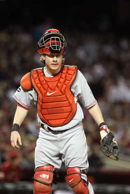 PHOENIX, AZ - APRIL 08:  Catcher Ryan Hanigan #29 of the Cincinnati Reds in action during the Major League Baseball home opening game against the Arizona Diamondbacks at Chase Field on April 8, 2011 in Phoenix, Arizona. The Diamondbacks defeated the Reds
