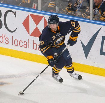 BUFFALO, NY - APRIL 18: Tim Connolly #19 of the Buffalo Sabres skates against the Philadelphia Flyers in Game Three of the Eastern Conference Quarterfinals during the 2011 NHL Stanley Cup Playoffs at HSBC Arena at HSBC Arena on April 18, 2011 in Buffalo,
