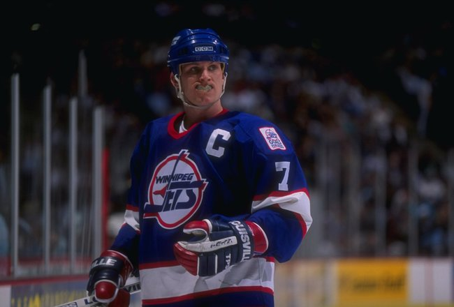 27 Jan 1995:  Leftwinger Keith Tkachuk of the Winnipeg Jets looks on during a game against the Anaheim Mighty Ducks at Arrowhead Pond in Anaheim, California.  The Ducks won the game, 3-2. Mandatory Credit: Al Bello  /Allsport