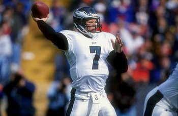 4 Oct 1998:  Quarterback Bobby Hoying #7 of the Philadelphia Eagles in action during a game against the Denver Broncos at the Mile High Stadium in Denver, Colorado. The Broncos defeated the Eagles 41-16.