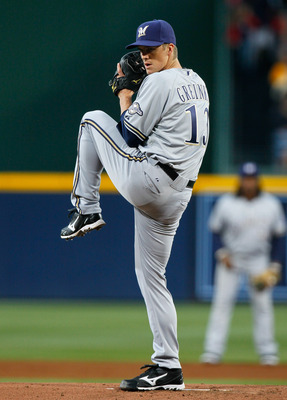 ATLANTA, GA - MAY 04:  Zack Greinke #13 of the Milwaukee Brewers pitches in the first inning against the Atlanta Braves at Turner Field on May 4, 2011 in Atlanta, Georgia.  (Photo by Kevin C. Cox/Getty Images)