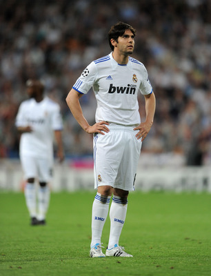 MADRID, SPAIN - APRIL 05:  Kaka of Real Madrid looks on during the UEFA Champions League quarter final first leg match between Real Madrid and Tottenham Hotspur at Estadio Santiago Bernabeu on April 5, 2011 in Madrid, Spain.  (Photo by Jasper Juinen/Getty