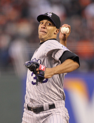SAN FRANCISCO, CA - MAY 06:  Ubaldo Jimenez #38 of the Colorado Rockies pitches against the San Francisco Giants at AT&amp;T Park on May 6, 2011 in San Francisco, California.  (Photo by Ezra Shaw/Getty Images)