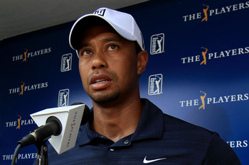 PONTE VEDRA BEACH, FL - MAY 12:  Tiger Woods addresses the media after withdrawing on the ninth hole during the first round of THE PLAYERS Championship held at THE PLAYERS Stadium course at TPC Sawgrass on May 12, 2011 in Ponte Vedra Beach, Florida. Woods