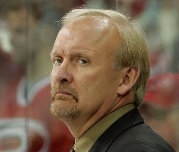 RALEIGH, NC - JUNE 01:  Head coach Lindy Ruff of the Buffalo Sabres watches play from the bench during the first period of game seven against the Carolina Hurricanes in the Eastern Conference Finals in the 2006 NHL Playoffs on June 1, 2006 at RBC Arena in