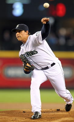 SEATTLE, WA - APRIL 13:  Starting pitcher Jason Vargas #38 of the Seattle Mariners pitches against the Toronto Blue Jays at Safeco Field on April 13, 2011 in Seattle, Washington. (Photo by Otto Greule Jr/Getty Images)