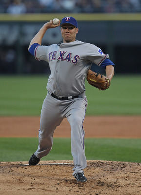CHICAGO, IL - MAY 16: Starting pitcher Colby Lewis #48 of the Texas Rangers delivers the ball against the Chicago White Sox at U.S. Cellular Field on May 16, 2011 in Chicago, Illinois. The Rangers defeated the White Sox 4-0. (Photo by Jonathan Daniel/Gett