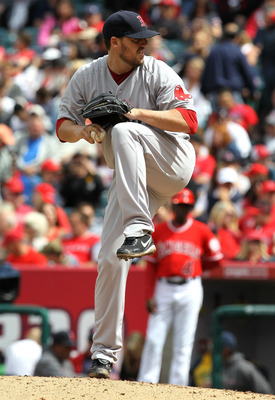 ANAHEIM, CA - APRIL 24:  John Lackey #41 of the Boston Red Sox throws a pitch against the Los Angeles Angels of Anaheim on April 24, 2011 at Angel Stadium in Anaheim, California. The Red Sox won 7-0.  (Photo by Stephen Dunn/Getty Images)
