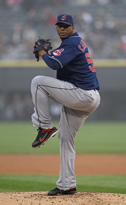 CHICAGO, IL - MAY 19:  Starting pitcher Fausto Carmona #55 of the Cleveland Indians delivers the ball against the Chicago White Sox at U.S. Cellular Field on May 19, 2011 in Chicago, Illinois. The White Sox defeated the Indians 8-2.  (Photo by Jonathan Da
