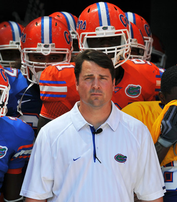 GAINESVILLE, FL - APRIL 9:  Coach Will Muschamp of the Florida Gators takes the field before the Orange and Blue spring football game April 9, 2010 Ben Hill Griffin Stadium in Gainesville, Florida.  (Photo by Al Messerschmidt/Getty Images)