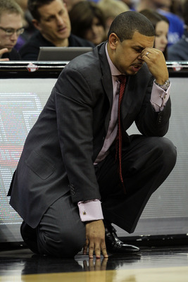 KANSAS CITY, MO - MARCH 10:  Head coach Jeff Capel of the Oklahoma Sooners reacts on the sidelines during their quarterfinal game against the Oklahoma Sooners in the 2011 Phillips 66 Big 12 Men's Basketball Tournament at Sprint Center on March 10, 2011 in