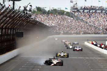 INDIANAPOLIS - MAY 29:  J.R. Hildebrand, driver of the #4 National Guard Panther Racing, finishes second after crashing during the IZOD IndyCar Series Indianapolis 500 Mile Race at Indianapolis Motor Speedway on May 29, 2011 in Indianapolis, Indiana.  (Ph