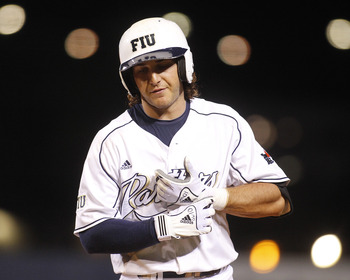 MIAMI, FL - FEBRUARY 18: Garrett Wittels #10 of the Florida International Panthers reacts to hitting into a fielders choice in the sixth inning. He was held without a hit by the Southeastern Louisiana Lions on February 18, 2011 at the FIU Baseball Stadium
