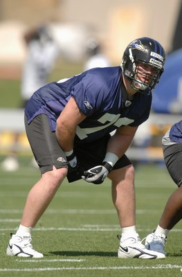 OWINGS MILLS, MD - MAY 4:  Marshall Yanda #73, 3rd round draft pick of the Baltimore Ravens, practices during Ravens rookie camp at their practice facilty on May 4, 2007 in Owings Mills, Maryland..  (Photo by Mitchell Layton/Getty Images)