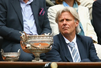 PARIS - JUNE 08:  Bjorn Borg of Sweden looks on at the men's final Trophy during the final match between Rafael Nadal of Spain and Roger Federer of Switzerland during the Men's Singles Final match on day fifteen of the French Open at Roland Garros on June