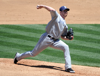 LOS ANGELES, CA - MAY 01:  Dustin Moseley #26 of the San Diego Padres pitches against the Los Angeles Dodgers during the second inning at Dodger Stadium on May 1, 2011 in Los Angeles, California.  (Photo by Harry How/Getty Images)